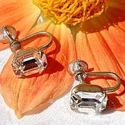 SALE Vintage Clear Sparkling Faceted Paste Rhinestone Earrings