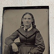 SALE Larger Victorian Tin Type Young Woman
