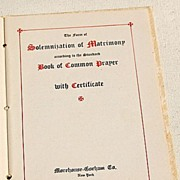 1938 The Marriage Service Solemnization Of Matrimony