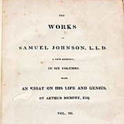 1825 Volume III The Works Of Samuel Johnson, L. L. D.