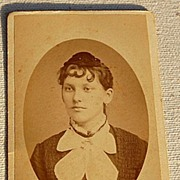 Victorian Antique Cabinet Photo Young Lady With Spit Curls