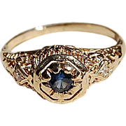 REDUCED Art Deco 14K Gold Filigree Sapphire & Diamond Ring