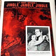 """SALE 1942 Vintage Sheet Music """"Jingle jangle Jingle"""" I Got Spurs"""