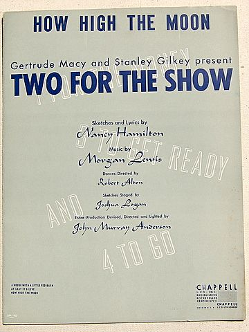 """1950 Vintage Sheet Music """"How High The Moon"""""""