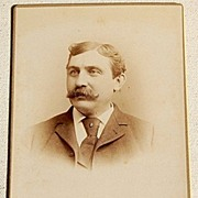 Vintage Cabinet Photo Card Man With Mustache