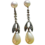 Vintage Silver Tone Metal Rhinestone & Faux Pearl Dangle Earrings