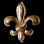 REDUCED Vintage 14K Gold Fleur D Lis Large Watch Pin/Brooch