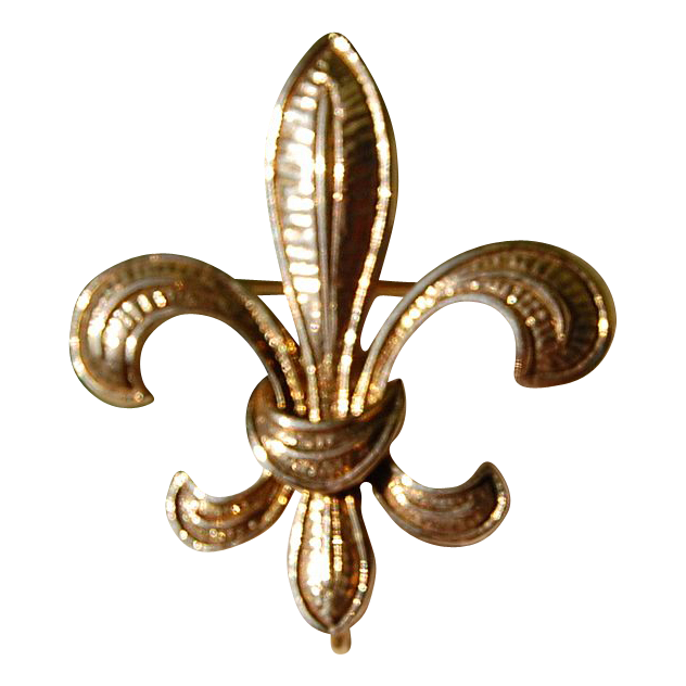 Vintage 14K Gold Fleur D Lis Large Watch Pin/Brooch