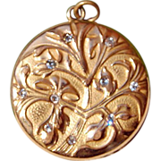 Wonderful Art Nouveau Gold Filled Paste Double Photo Locket