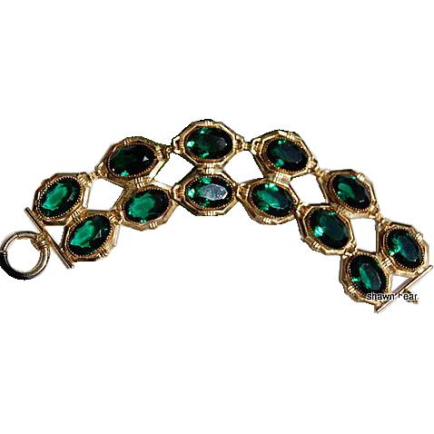 Large Vintage Double Row Emerald Green Faceted Rhinestone Flexible Bracelet