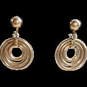 REDUCED Vintage 12K Gold Filled Winard Dangle Screw Back Earrings