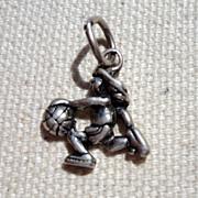 SALE Vintage Sterling Silver Girl Basketball Player Charm
