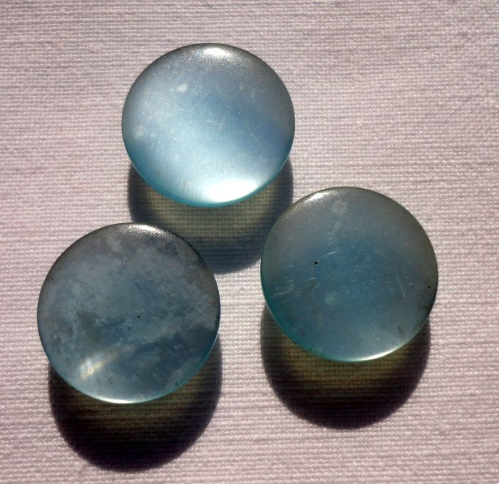 Vintage Set Of Three Light Blue Mother Of Pearl Buttons