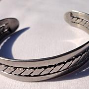Vintage Silver Tone Metal Cuff Bracelet