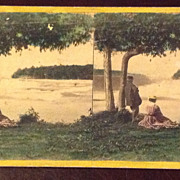 SALE Antique 1868 Stereophotography Stereoview Card The American Fall From Luna Island