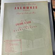 REDUCED 1944 Vintage Sheet Music Jalousie (Jealousy)