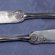 Pair Vintage W M Rogers & Son Silverplate Butter Knives