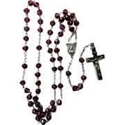 Vintage European Purple Glass Beaded Rosary & Reliquary Crucifix