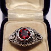 REDUCED Beautiful Art Deco 18K Gold Filigree Faceted Garnet Ring
