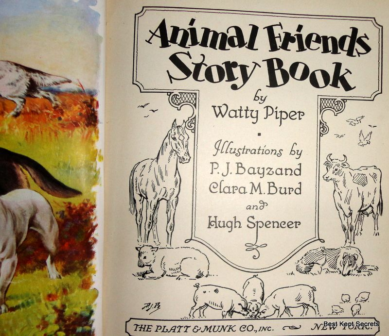 1935 Animal Friends Story Book Watty Piper