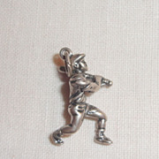 Vintage Sterling Silver Male Baseball  Player Charm