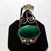 REDUCED Vintage Gold Filled Emerald Green Cabochon Hinged Bangle Bracelet