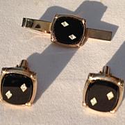 REDUCED Vintage Silver Tone Black Lucite Diamond Rhinestone Cuff  Links & Tie Bar Set