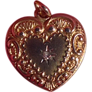 REDUCED Antique Victorian 14K Gold Diamond Repousse Double Sided Heart Charm