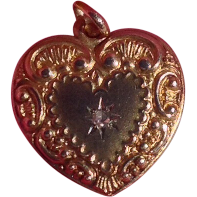 Antique Victorian 14K Gold Diamond Repousse Double Sided Heart Charm