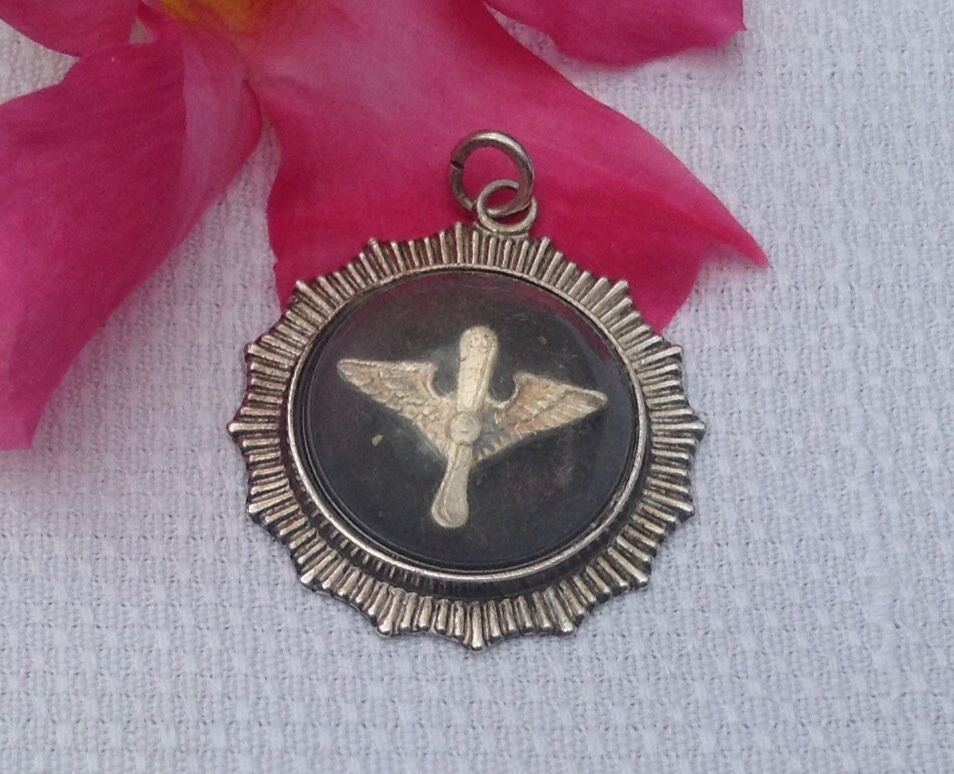 Rare Sterling Silver Army Air Corps Pendant