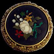 REDUCED Antique Victorian 18K Gold Pietra Dura Brooch