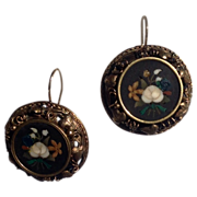 REDUCED Antique Victorian 18K Gold Pietra Dura Earrings