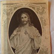 1913 Catholic Apostleship Of Prayer Certificate Of Admission