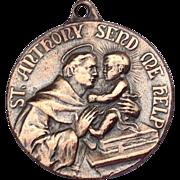 Large Vintage Bronze St. Anthony Medal