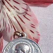 REDUCED Vintage Silver Tone Metal Sweet Heart Of Jesus Medal