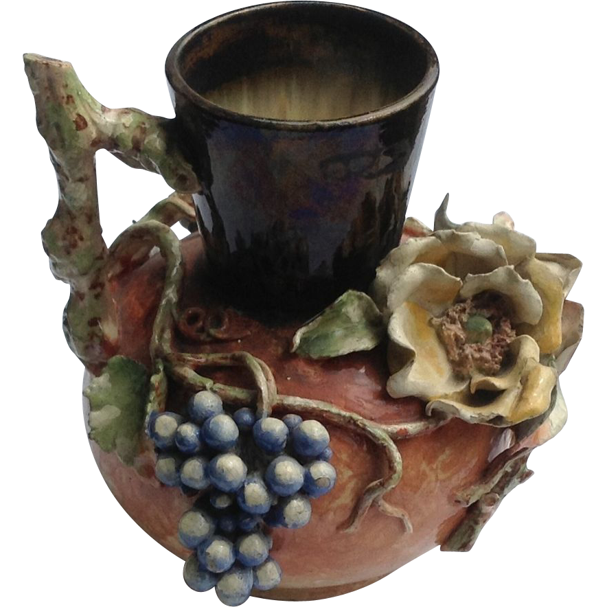 Rare French Baibotine Floral Fruit Faience Manufacturing Co. Pitcher