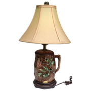 REDUCED Antique English Wild Rose Majolica Pitcher Lamp