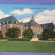 REDUCED Vintage Notre Dame Seminary New Orleans Post Card