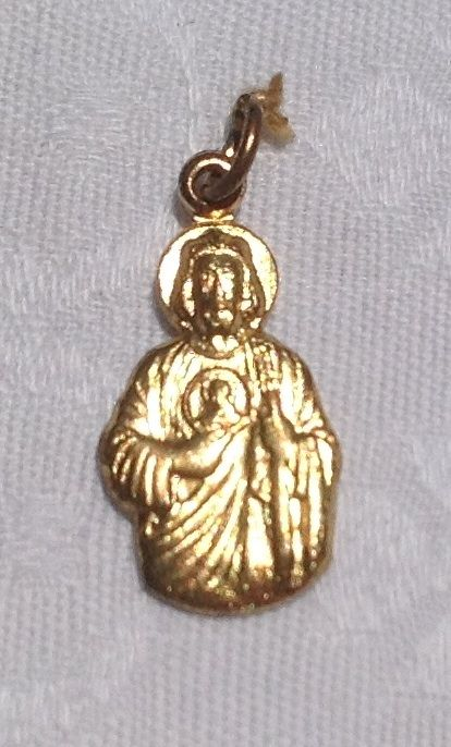 Vintage Gold Tone Metal Jesus & His Sacred Heart Dominican Fathers Medal
