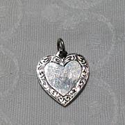 Vintage Sterling Silver Heart Disk Charm