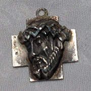 REDUCED Vintage Sterling Silver Three Dimensional Medal Jesus Christ With Crown Of Thorns