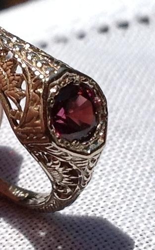 Art Deco 14K Gold Filigree Pink Tourmaline Ring