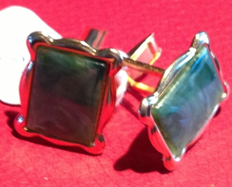 Vintage Gold Tone Metal Green Marbleized Cuff Links