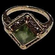 REDUCED Art Deco 14K Gold Filigree Peridot Ring