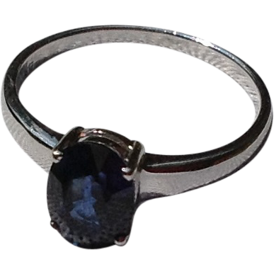 Vintage 18K Gold 1.51Ct. Sapphire Solitaire Engagement Ring
