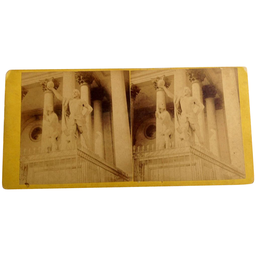 1868 Stereo-Photography Stereo View Card Statue Of Columbus