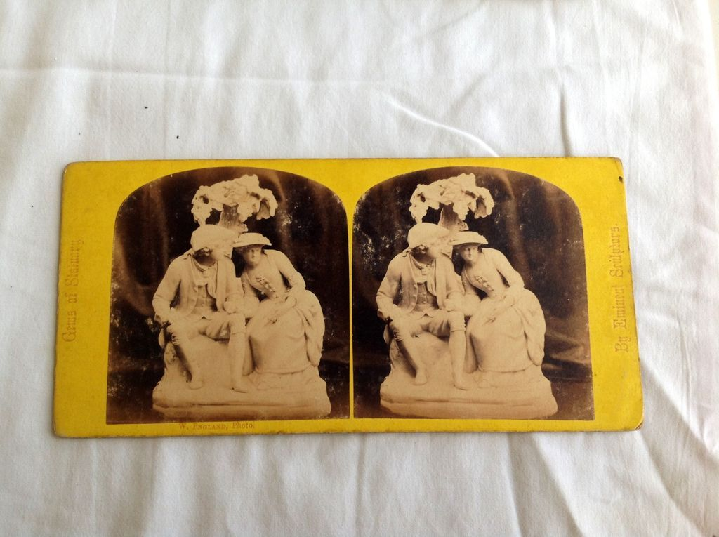 1867 Stereo-Photography Stereo View Card Love Tale #53 Gems Of Statnary By Eminent Srulplors
