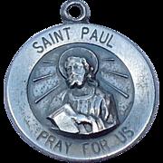Vintage Sterling Silver Saint Paul Pray For Us Medal
