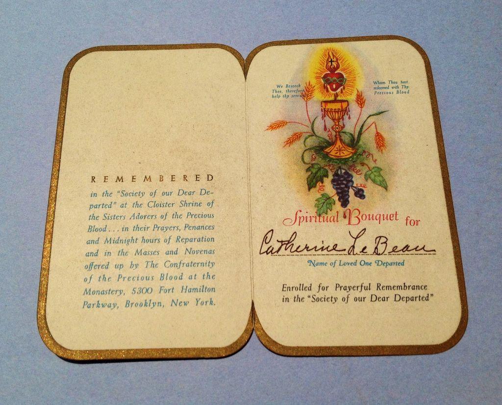Vintage Catholic Prayer Card