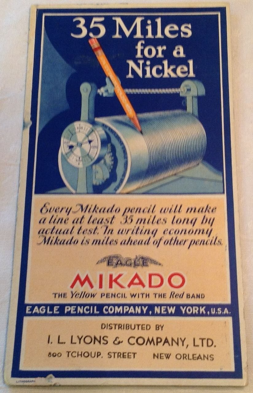 Vintage Mikado Eagle Pencil Company Advertising Ink Blotter Lithograph  Card
